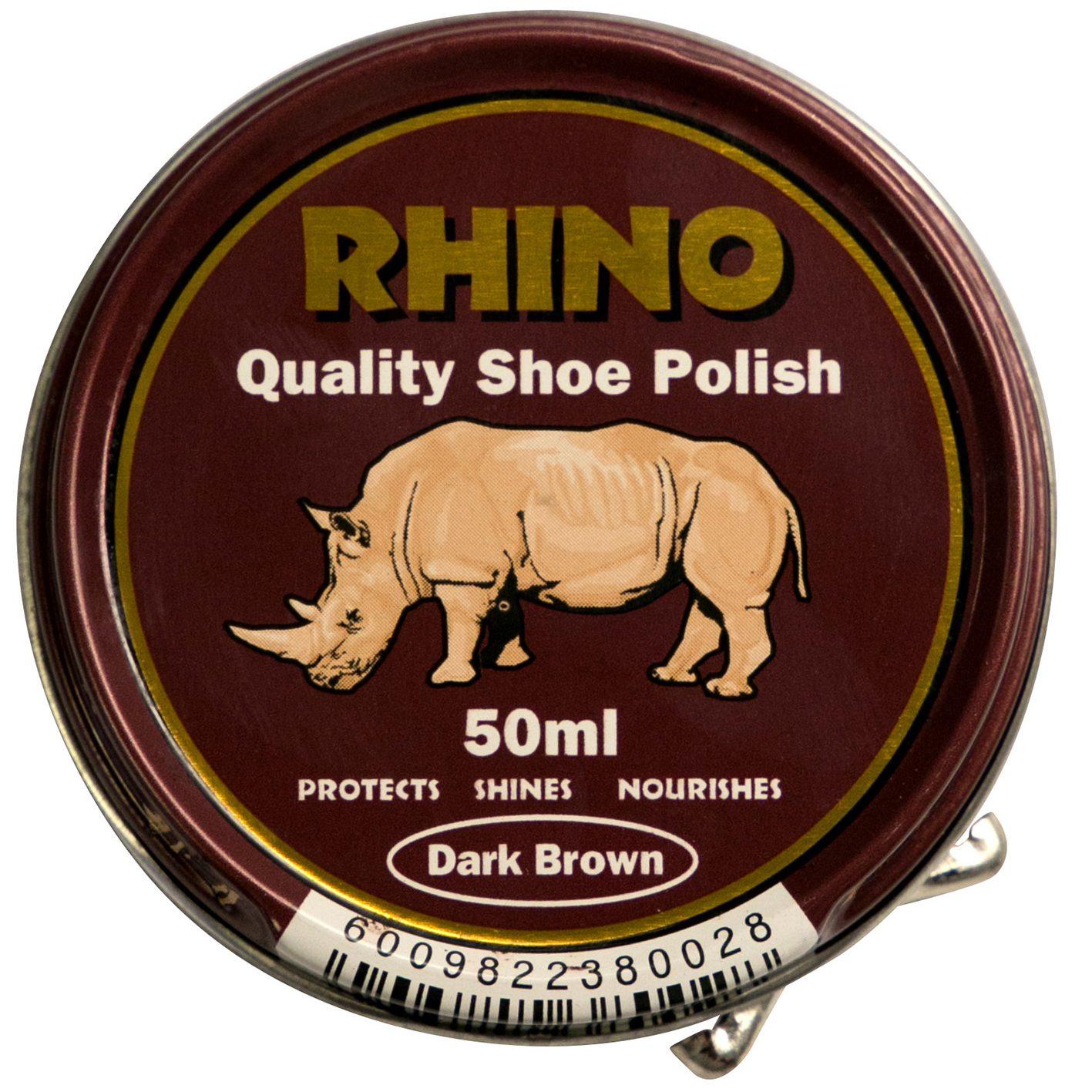Rhino Shoe Polish Dark Brown 50ml