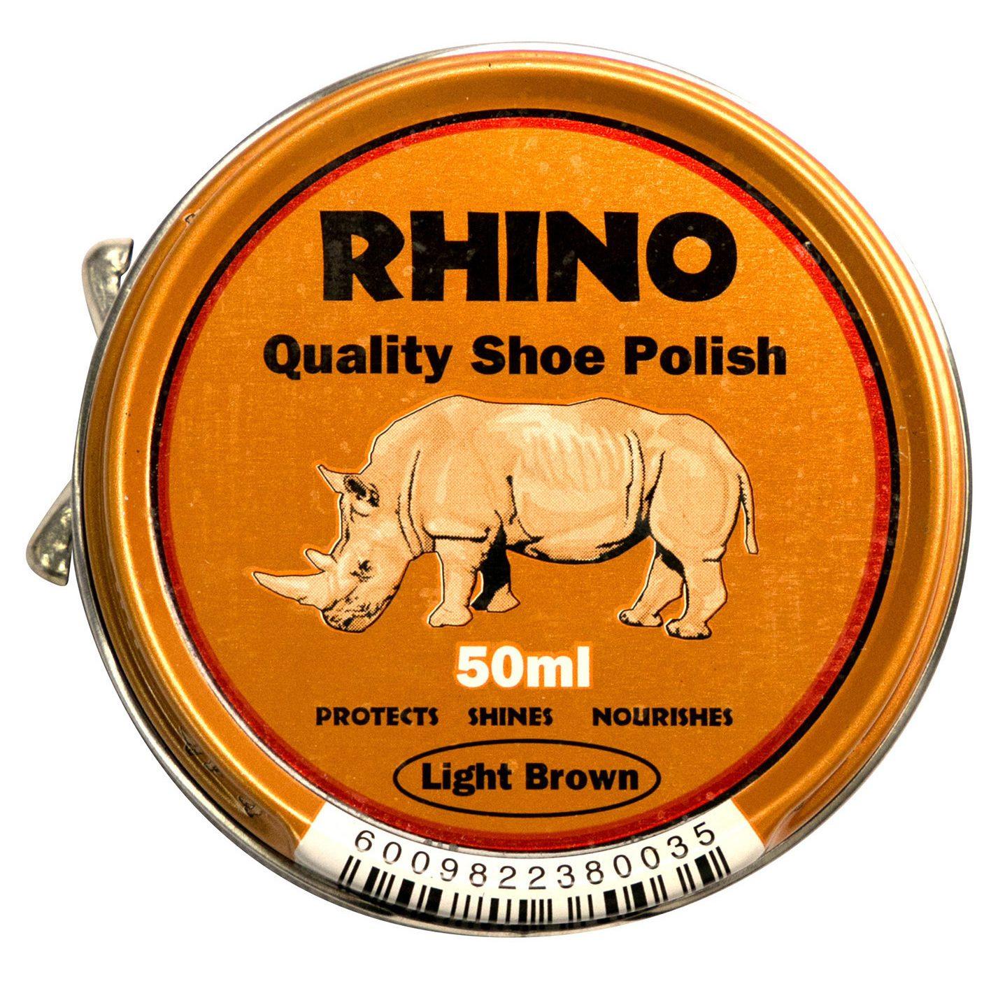 Rhino Shoe Polish Light Brown 50ml